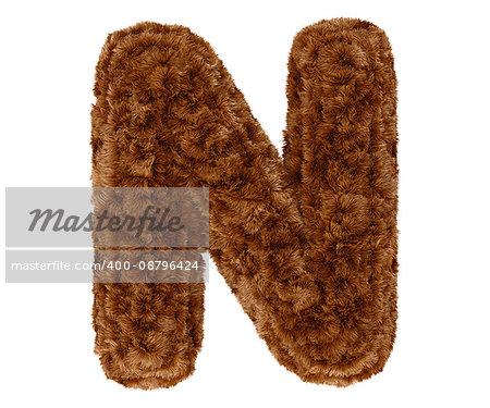 Wild animal brown bushy bear decorative fur alphabet capital letter N. 3d rendering illustration. Isolated on white background