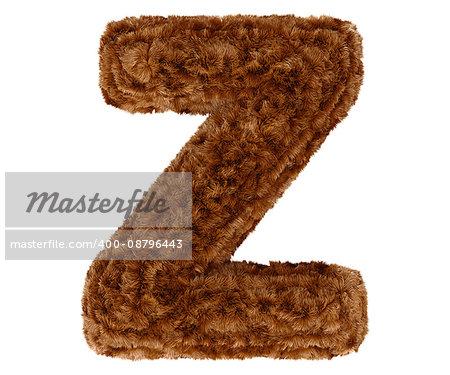 Wild animal brown bushy bear decorative fur alphabet capital letter Z. 3d rendering illustration. Isolated on white background