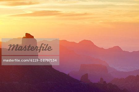 Roque Bentayga at sunset, Gran Canaria, Canary Islands, Spain, Atlantic Ocean, Europe