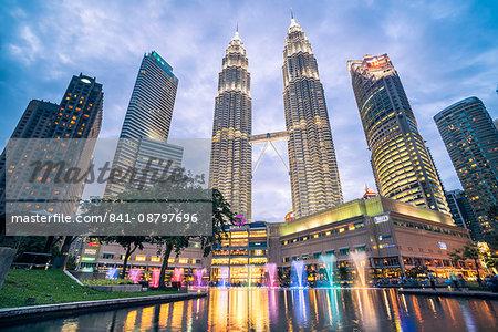 Petronas Twin Towers light display at night, Kuala Lumpur, Malaysia, Southeast Asia, Asia