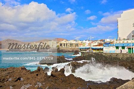 Playa de las Canteras Beach, Santa Catalina District, Las Palmas de Gran Canaria, Gran Canaria, Canary Islands, Spain, Atlantic Ocean, Europe