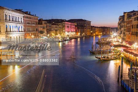 Grand Canal at dusk, Venice, UNESCO World Heritage Site, Veneto, Italy, Europe