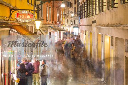 Narrow street at night, Venice, UNESCO World Heritage Site, Veneto, Italy, Europe