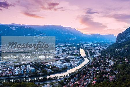 Grenoble at sunset. Grenoble, Auvergne-Rhone-Alpes, France.