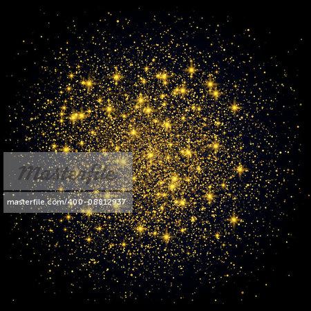Sparkling background. Gold Explosion on Black Background Vector festive illustration. Gold shiny particles shape. Shining Motion Luxury Design. Holiday, Card.