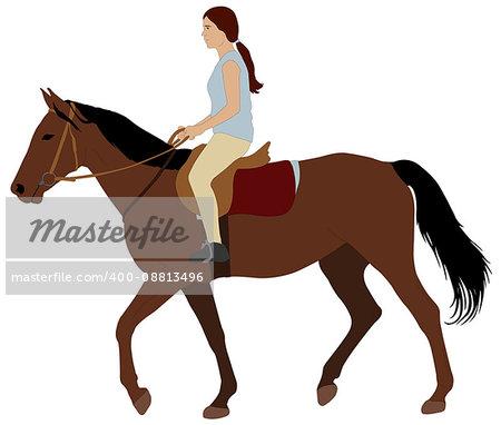 girl riding a horse - vector illustration