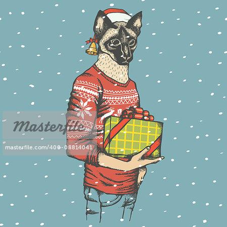 Christmas cat vector illustration. Cat in human sweatshirt with gift. Christmas cat vector in Santa hat