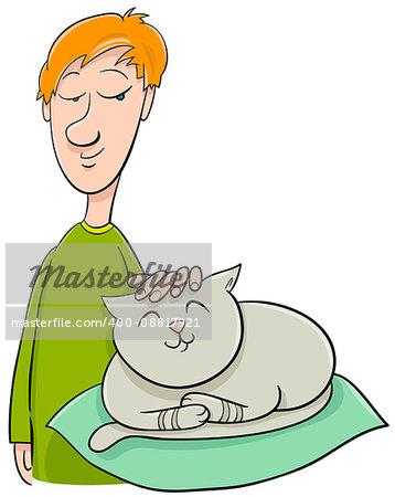 Cartoon Illustration of Boy Stroking his Pet Cat