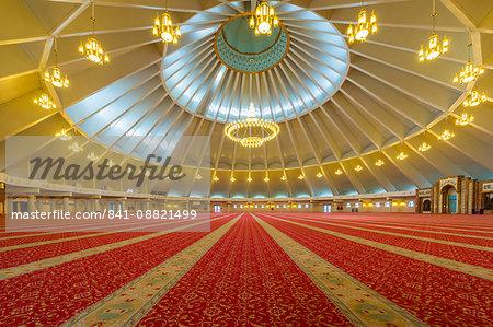 Sheikh Khalifa al Nahyan Mosque, Men's prayer room, Shymkent, South Region, Kazakhstan, Central Asia