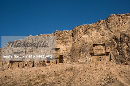 Tombs of Darius II, Ataxerxes I and Darius the Great, Naqsh-e Rostam Necropolis, near Persepolis, Iran, Middle East