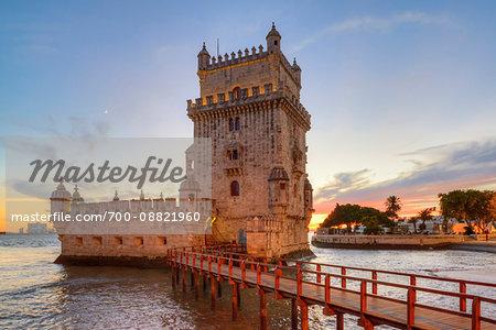 Belem Tower at Sunset, Lisbon, Lisboa Region, Portugal
