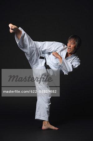 Japanese karate master training