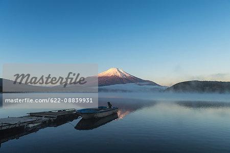 Morning light illuminating Mount Fuji at Lake Yamanaka, Yamanashi Prefecture, Japan