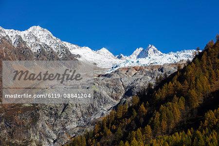 Le Tour glacier, autumn, Chamonix, Haute Savoie, Rhone Alpes, French Alps, France, Europe