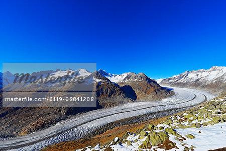 Aletsch glacier, Jungfrau-Aletsch, UNESCO World Heritage Site, Valais, Swiss Alps, Switzerland, Europe