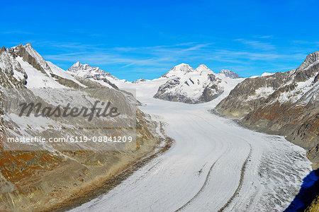 Aletsch glacier, Monch, 4107m, and Trugbe, Jungfrau-Aletsch, UNESCO World Heritage Site, Valais, Swiss Alps, Switzerland, Europe