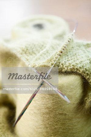 Wool reel with knitting needle in salesroom, Bavaria, Germany