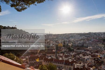 Aerial view of a city, April 25th Bridge, Lisbon, Portugal
