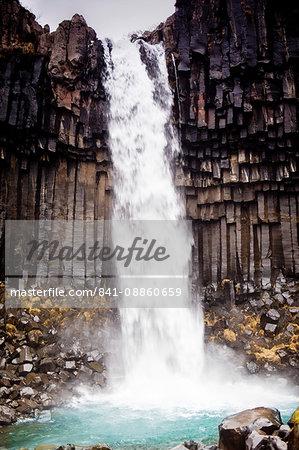 Svartifoss waterfall in Vatnajokull National Park, Iceland, Polar Regions