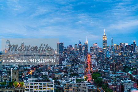 Manhattan skyline at dusk, New York City, United States of America, North America