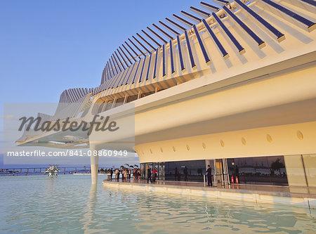 View of the Museum of Tomorrow (Museu do Amanha) by Santiago Calatrava, Praca Maua, Rio de Janeiro, Brazil, South America