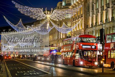 Regent Street Christmas lights in 2016, London, England, United Kingdom, Europe