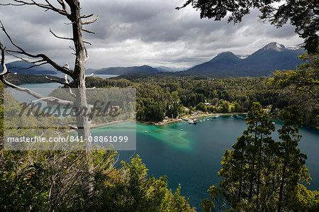 View of Lago Nahuel Huapi from Mirador Bahia Mansa, Parque Nacional Los Arrayanes, Villa La Angostura, Lake District, Argentina, South America
