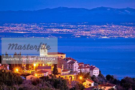 Moscenice village skyline and Kvarner bay evening view, Opatija riviera of Croatia