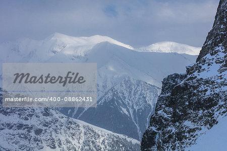 landscape mountain in winter. Fagaras Mountains, Romania