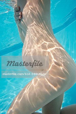 Pregnant woman's torso under water