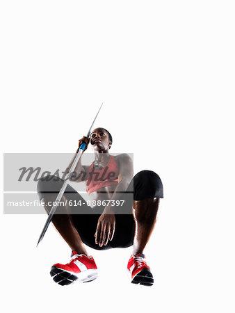 Female athlete with javelin