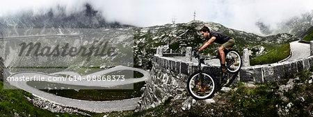 Mountain biker on Gotthard Pass