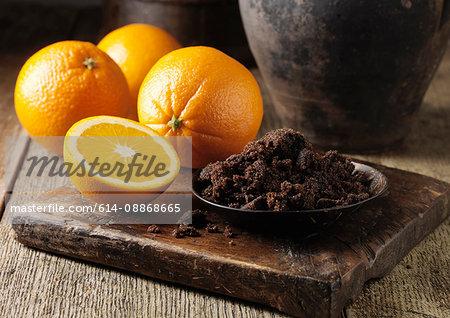 Muscovado sugar and oranges on board