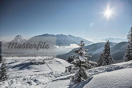 Ski lodge in snowy landscape