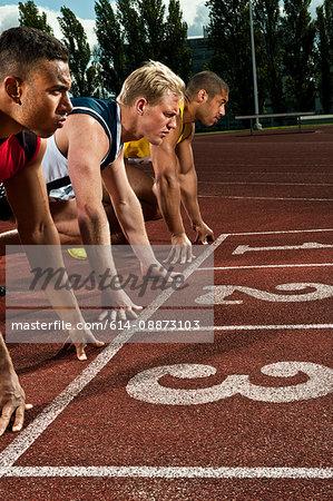 Athletes preparing to race on sportstrack