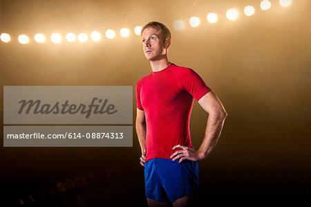 Sportsman looking away