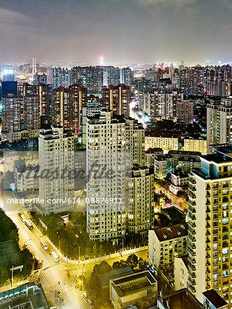 Cityscape at dusk, Shanghai, China