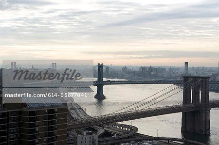 Elevated view of Brooklyn, Williamsburg and Manhattan Bridges, New York, USA