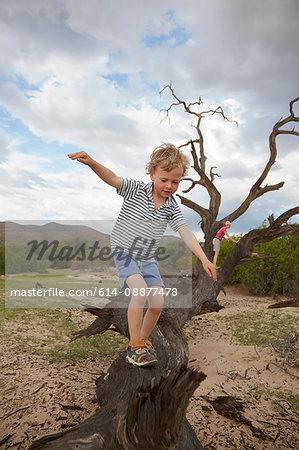 Boy climbing on dead tree, Purros, Kaokoland, Namibia