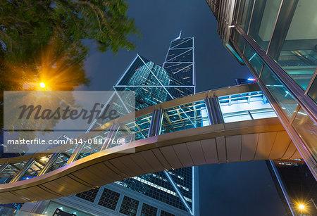 Pedestrian walkway and Bank of China building, Hong Kong, China