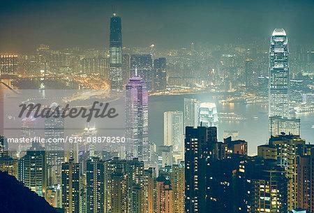Cityscape at night, Victoria Peak, Hong Kong