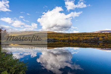 Lake in rolling landscape