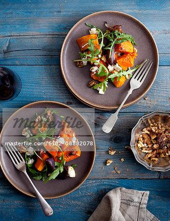 Fresh salad on plates
