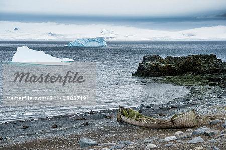 Old cargo boat on the shores of Half Moon Island, South Shetland Islands, Antarctica, Polar Regions