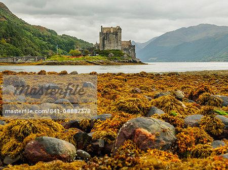 View of the Eilean Donan Castle, Dornie, Highlands, Scotland, United Kingdom, Europe