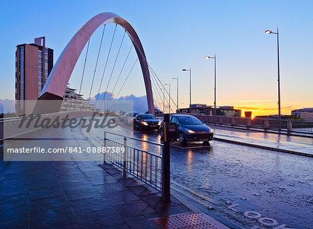 Clyde Arc at sunset, Glasgow, Scotland, United Kingdom, Europe