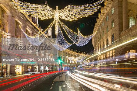 Christmas Lights on Regent Street, Westminster, London, England, United Kingdom, Europe