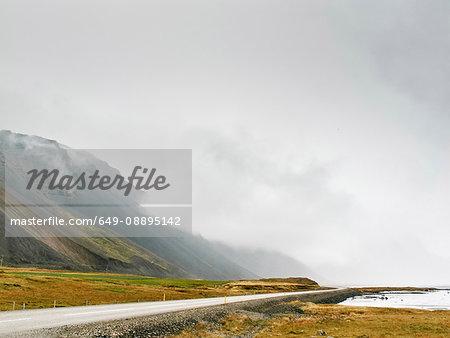 Low cloud on mountainside, Hof, Iceland
