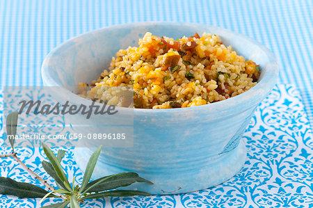 Pearl barley salad with tomatoes