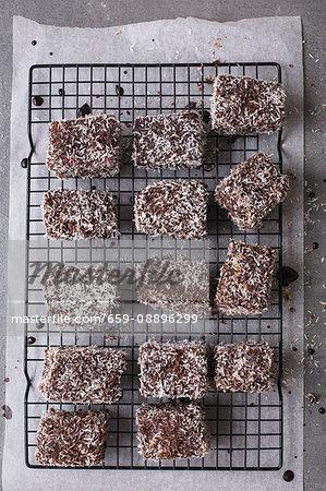 Australian Lamingtons on a baking tray